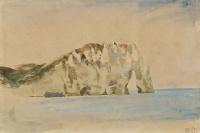 Эжен Делакруа. Скалы Этрета. Вид на скалу Аваль с берега