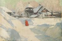Обитель зимой.  1-я треть ХХ в. смешанная техника