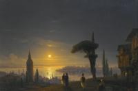 Иван Константинович Айвазовский. Башня Галата лунной ночью