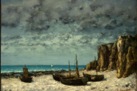 Gustave Courbet. Boats on beach, étretat