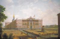 Федор Яковлевич Алексеев. Вид на Михайловский замок и площадь Коннетабля в Петербурге. Около 1800