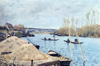 Alfred Sisley. The Seine at port-Marly, piles of sand