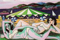 Рафаэль Сабалета. Купальщицы на пляже под зонтиком