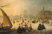 Adam van Breen. Frozen canal with skating and the boat on the ice