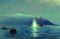 """Лев Феликсович Лагорио. Потопление катерами парохода """"Великий князь Константин"""" турецкого парохода """"Интибах"""" на Батумском рейде в ночь на 14 января 1878 года"""