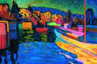 Осенний пейзаж с лодками