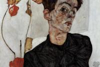 Egon Schiele. Self-Portrait with Chinese Lantern Plant