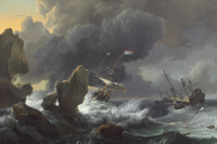 Ludolf Buckhuisen. Ships in Distress off a Rocky Coast