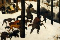 Питер Брейгель Старший. Охотники на снегу. Фрагмент 6. Охотники с собаками