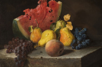 Лилли Мартин Спенсер. Натюрморт с арбузом, грушами и виноградом