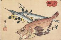 """Утагава Хиросигэ. Морской окунь, японская рыба--игла и цветущая ветка. Серия """"Рыбы"""""""