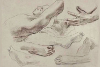 "Sketch for ""satin and Hesperide"". Drawing of feet, hands and a reclining figure"