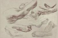 """Эскиз для """"Атлас и Геспериды"""". Рисунок ног, руки и лежащая фигура"""