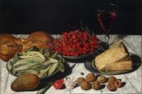 Йозеф Плепп. Натюрморт с вишнями и сыром