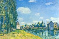 Alfred Sisley. Bridge at Moret in summer