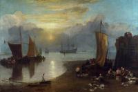 Восход солнца сквозь туман. Рыбаки чистят и продают рыбу