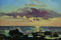 Sunset on the sea in Livorno. Etude