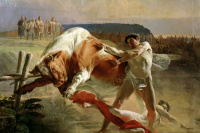Ян Усмовец, удерживающий быка