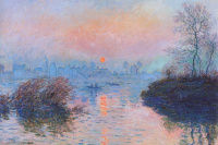 Sunset over the Seine in Lavacore. Winter effect