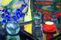Adalbert Mikhailovich Erdeli. Still life with a red cup and bells