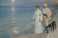 Летний вечер на пляже Скагена. Художник и его жена
