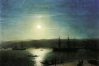 The Bosphorus in a moonlit night