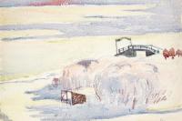 Winter landscape and the bridge, Maloja