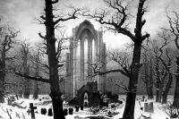 Монастырское кладбище в снегу