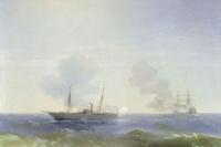 Иван Константинович Айвазовский. Бой парохода «Веста» с турецким броненосцем «Фехти-Буленд» в Чёрном море 11 июля 1877 года