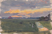 Эскиз закатного пейзажа с ветряной мельницей
