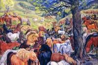 Табун гуцульских лошадей