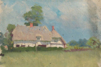Sketch of cottages with thatched roofs
