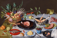 Якоб ван Хюльсдонк. Натюрморт с артишоками, редисом, спаржей, сливами, черешней и персиками в корзине