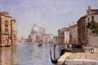 Venice. View of Campo della Carita towards the dome of the Cathedral of Santa Maria della Salute