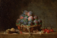 Still life with walnuts, a basket of plums and cherries