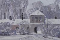 Frost in Svyatogorsky monastery. Pushkinskie Gory.