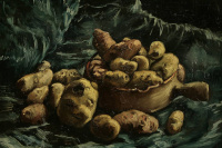 Still life with bowl and potatoes