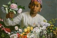 Фредерик Базиль. Молодая женщина с пионами
