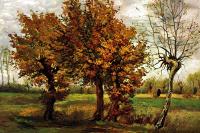 Осенний пейзаж с четырьмя деревьями
