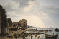 Sylvester Feodosievich Shchedrin. A small harbour in Sorrento overlooking the Islands of Ischia and Procida