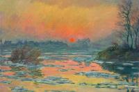 Закат на Сене зимой