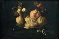 Натюрморт с фруктами и щеглом