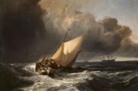 Голландские рыболовные лодки во время шторма