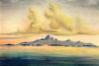 """Эрнст Генрих Геккель. Вид с моря на остров недалеко от Эквадора. """"Чудеса тропического мира"""""""