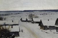 Isaac Levitan. Village. Winter