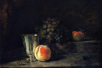 Still life with silver goblet, peach, red and white grapes