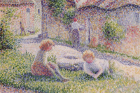 The children in the courtyard of the estate