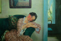 Константин Андреевич Сомов. Спящая молодая женщина в розовом платье