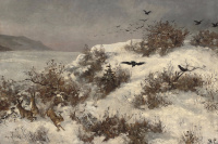 Winter landscape with hares