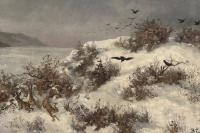 Зимний пейзаж с зайцами